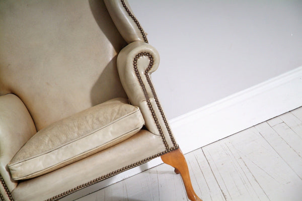 VINTAGE WING BACK QUEEN ANNE CHAIR : PARCHMENT