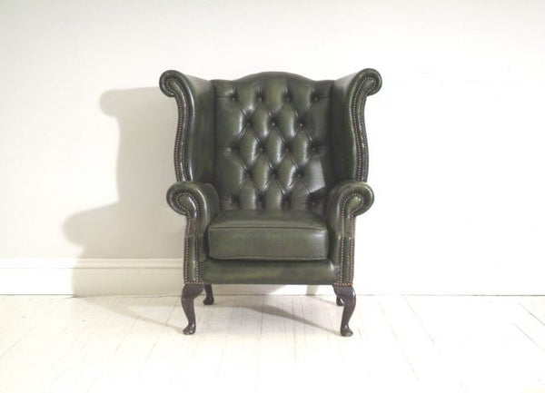 QUEEN ANNE WING BACK CHAIR : PRELOVED DEEP GREEN