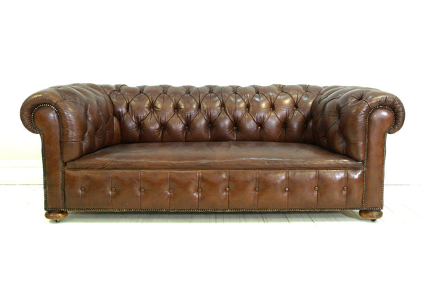 ANTIQUE CHESTERFIELD SOFA, CIRCA 1933, ORIGINAL LEATHER