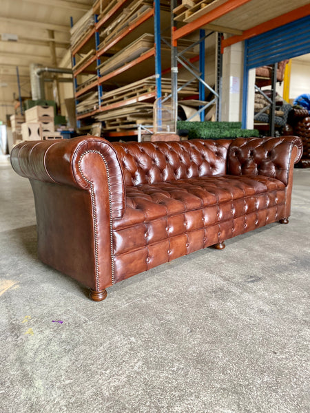 A Perfectly Restored Drop Arm MidC Chesterfield in Hand Dyed Warm Browns