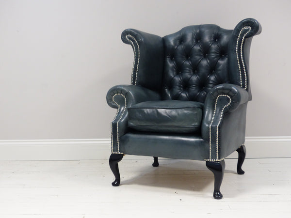 FULLY RESTORED AND REUPHOLSTERED HAND DYED QUEEN ANNE CHAIR