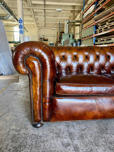 A Very Smart MidC Hand Dyed Leather Chesterfield Sofa in Conker