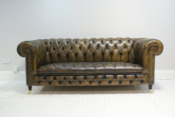MATCHING PAIR OF FULLY RESTORED BURNT TAN CHESTERFIELD