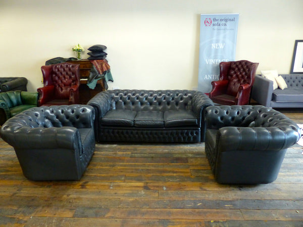 EXCELLENT PRE-LOVED GREY CHESTERFIELD SUITE