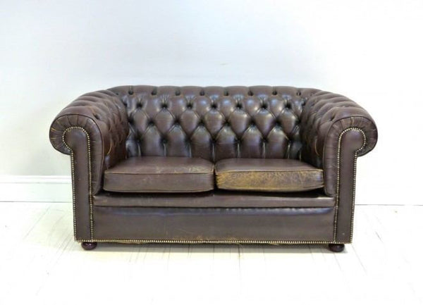 VINTAGE HAND DYED TWO SEAT CHESTERFIELD