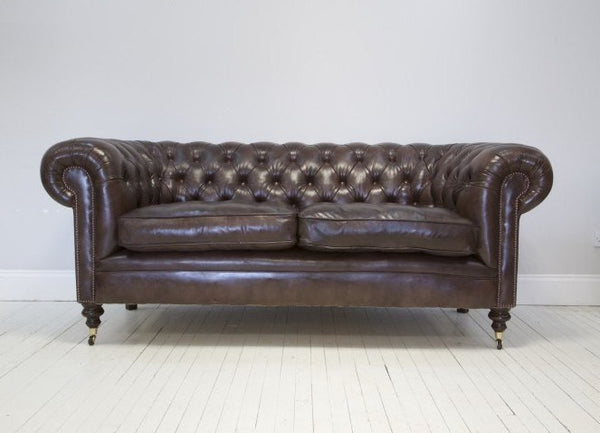 THE WILMINGTON DARK WALNUT CHESTERFIELD SOFA