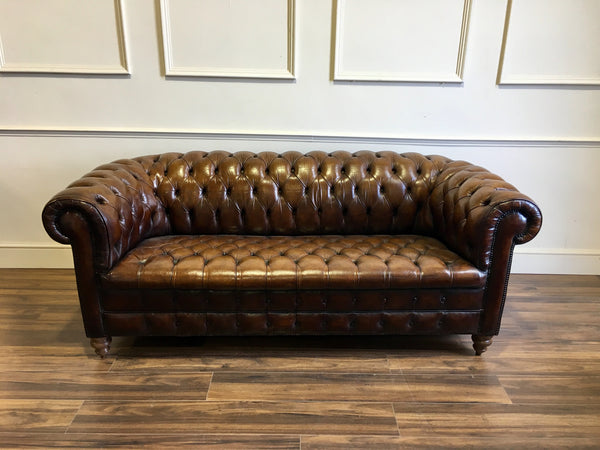 Early 20thC Antique Vintage Leather Chesterfield 3 seater sofa
