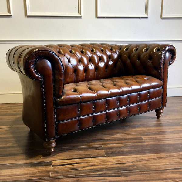 Early 20thC Antique Vintage Leather Chesterfield 2 seater sofa