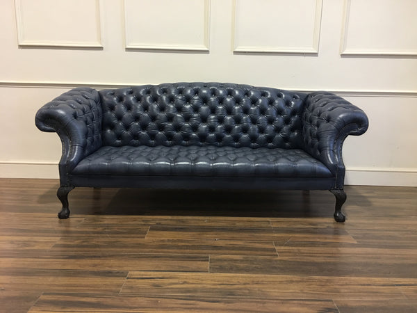 ROCKINGHAM CHIPPENDALE SOFA : IN HAND DYED SEA BLUE