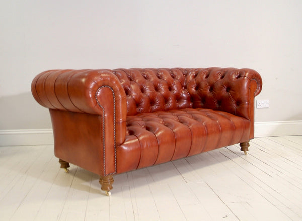 THE MILENA CHESTERFIELD SOFA : HAND DYED RICH TAN