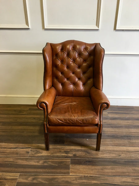 A Fantastic Vintage Leather Chesterfield Wing Back Chair in Tan