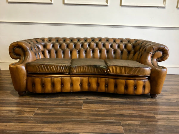 A Very Rare Design of Tan Leather Chesterfield Sofa in Super Condition