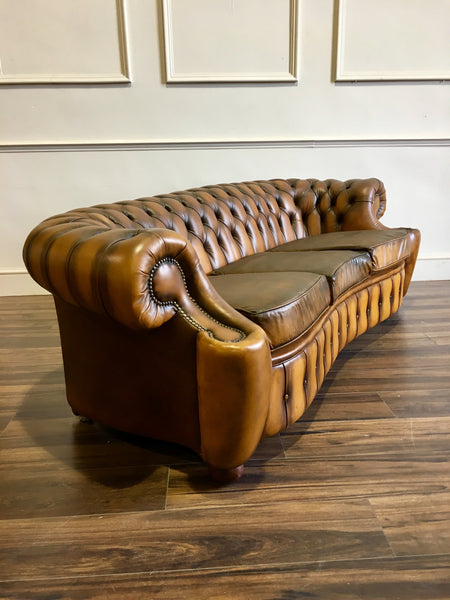 A Very Rare Design of Tan Leather Chesterfield in Super Condition