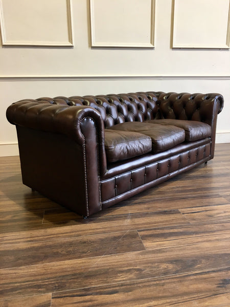 An Excellent Twice Loved 3 Piece Chesterfield Suite - Sofa and Two Chairs