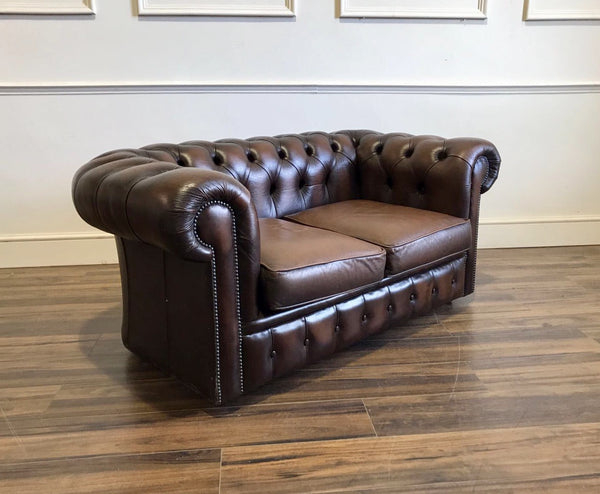 A Super Cool Little 2 Seater Leather Sofa in Chocolate Brown - Twice Loved and one of a pair