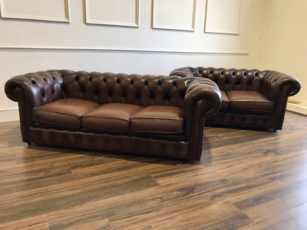 A Super Cool Little 2 Seater Leather Chesterfield Sofa in Chocolate Brown - Twice Loved and one of a pair