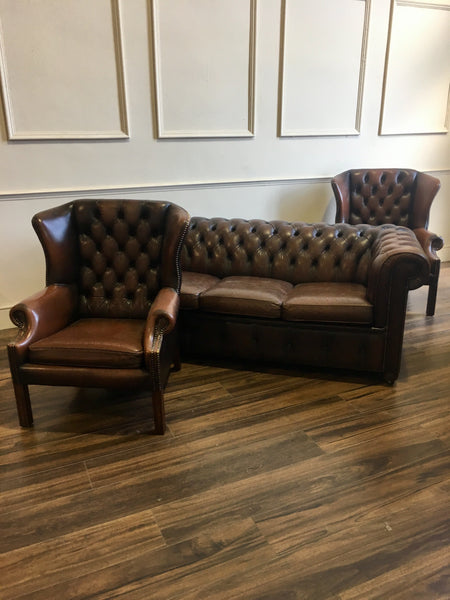 Chocolate Brown 3 Piece Chesterfield Suite