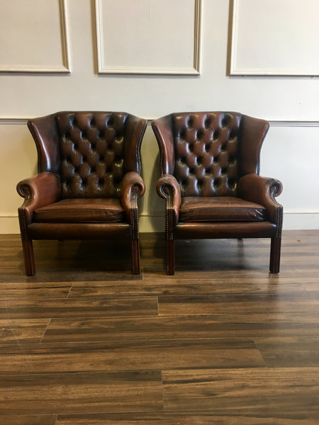 2 Chocolate Brown Wing Back Chairs