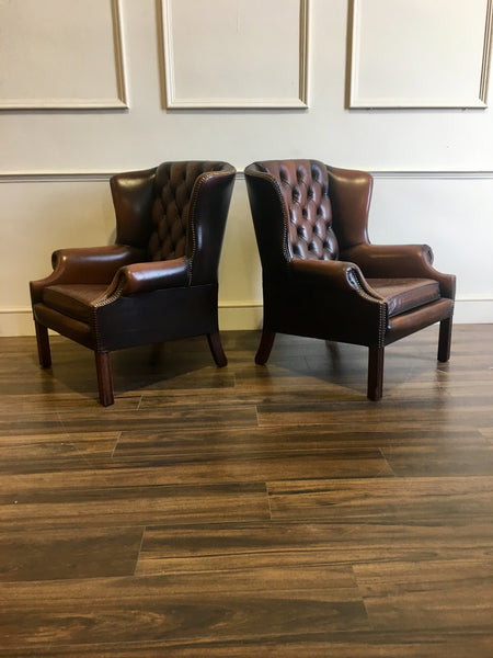 Side view of Chocolate Brown Wing Back Chairs