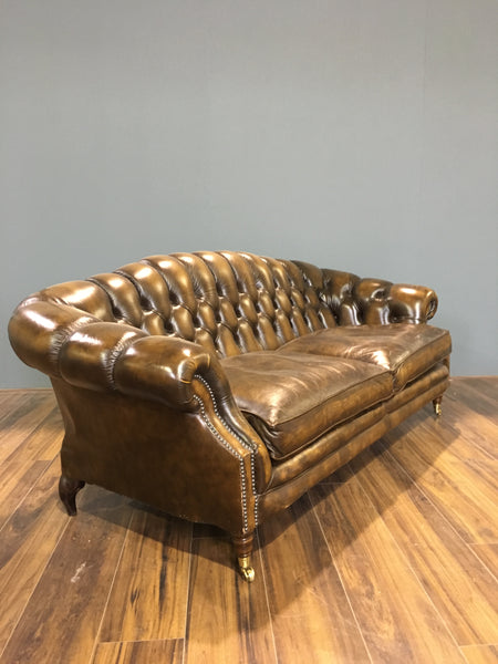 Beautiful Saddle Tan Leather Chesterfield Sofa
