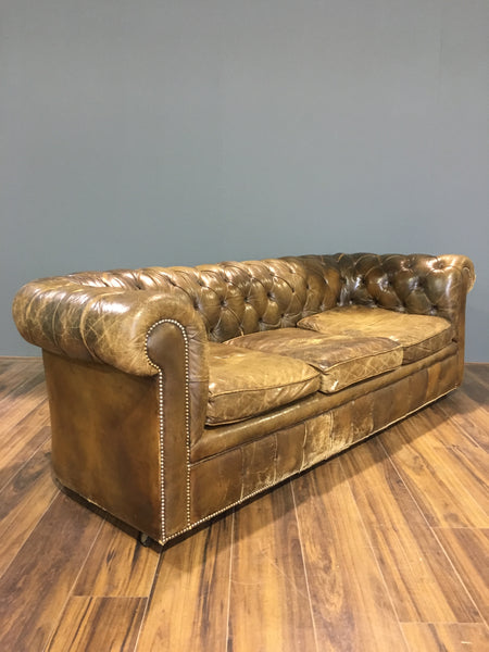 MidC Vintage Chesterfield Sofa In Original Leather
