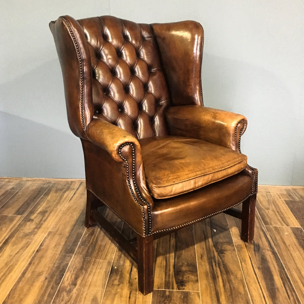 Tremendous An Exceptional Vintage Leather Chesterfield Wing Chair Pdpeps Interior Chair Design Pdpepsorg