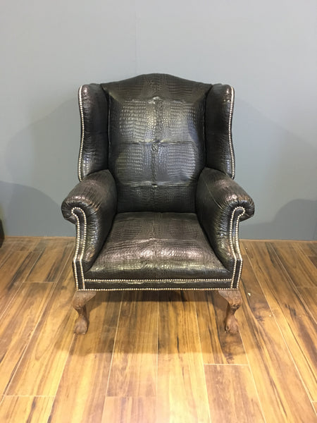 Real Crocodile Skin Wing Back Chair Robinson Of England