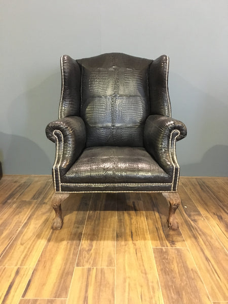Real Crocodile Skin Wing Back Chair - our Disraeli