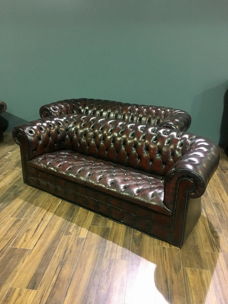 Dark leather Chesterfield Sofa