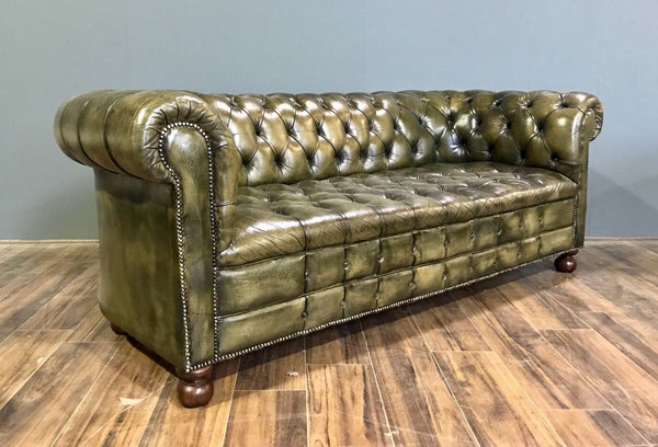 A Very Good MidC Vintage Chesterfield Sofa In Hand Dyed Green Leather