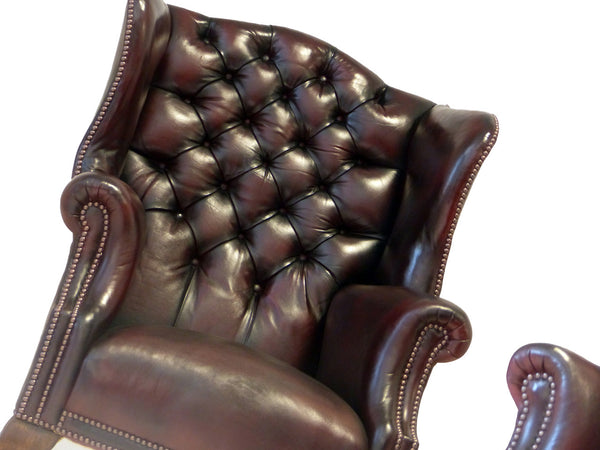 PAIR OF VINTAGE WINGBACK CHAIRS : DEEP WINE