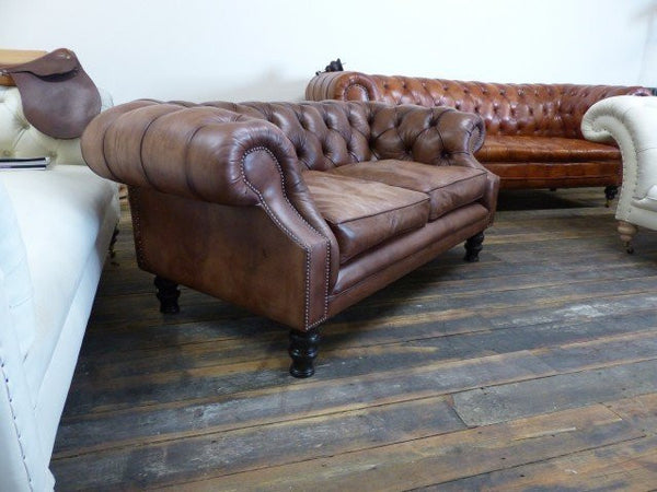 PALMERSTON BESPOKE CHESTERFIELD SOFA: HAND DYED UMBER BROWN