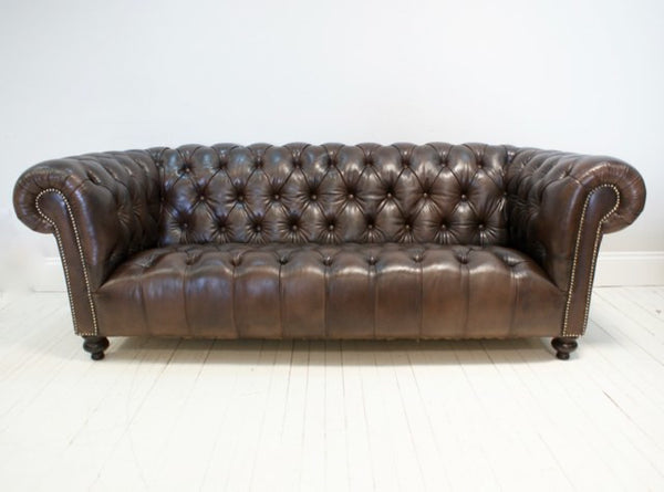 BEAUTIFULLY RESTORED MIDC LEATHER CHESTERFIELD SOFA
