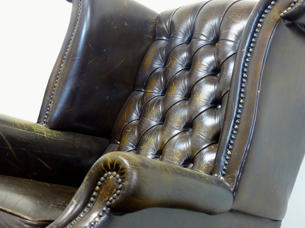 RUSTIC BROWN QUEEN ANNE WING BACK CHAIR