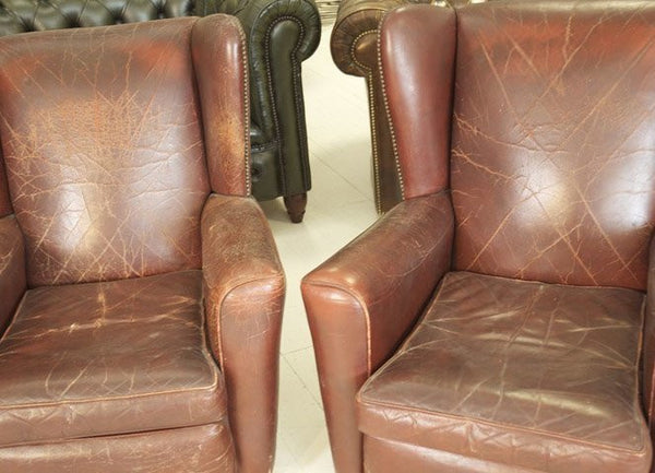 VERY GOOD 1930'S WING CHAIRS IN LOVELY WORN LEATHER