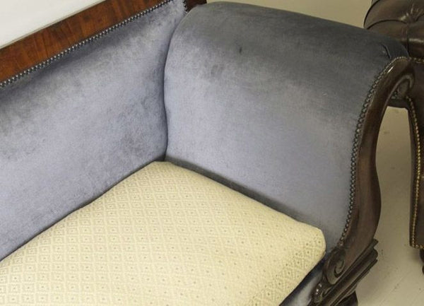 WILLIAM IV EARLY NINETEENTH CENTURY SOFA FINISHED IN BRIAN YATES VELVET WITH COLEFAX & FOWLER SEAT PAD