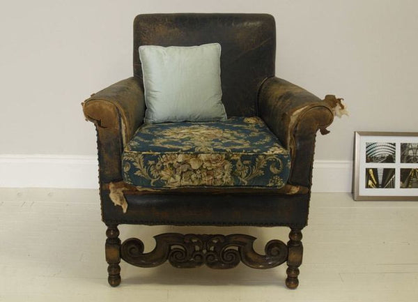 EARLY TWENTIETH CENTURY ANTIQUE ARMCHAIR IN ORIGINAL FRENCH BLUE LEATHER