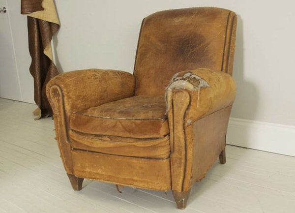 FRENCH ART DECO CHAIR STILL IN ORIGINAL LEATHER