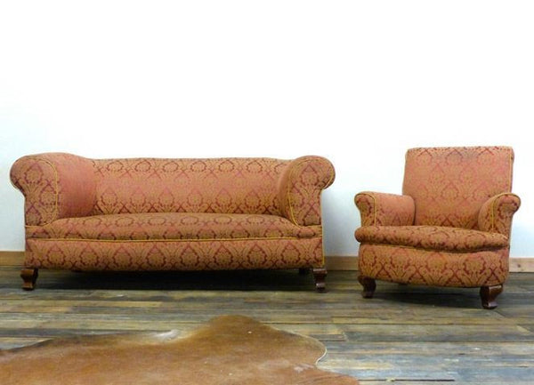 WONDERFUL 19TH CENTURY FULLY COIL SPRUNG SOFA AND CHAIR