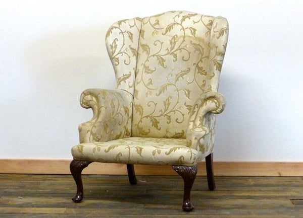 EARLY 20TH CENTURY QUEEN ANNE WING BACK