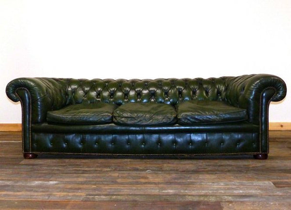 OUTSTANDING VINTAGE CIRCA 1900 FOUR SEATER GREEN CHESTERFIELD