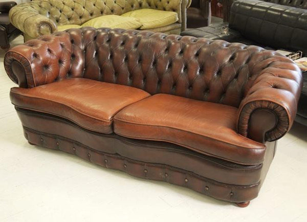 CHESTERFIELD SOFA WITH FULLY COIL SPRUNG SEATS IN RICH CHESTNUT BROWN – TO BE RE-BUTTONED