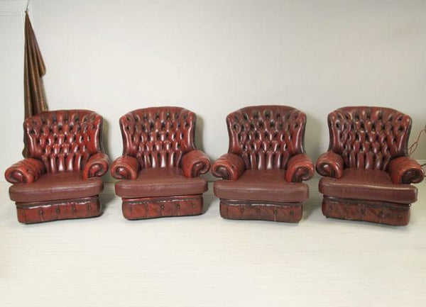 FOUR PRE-LOVED LEATHER CHESTERFIELD HIGH BACK MONKS CHAIRS