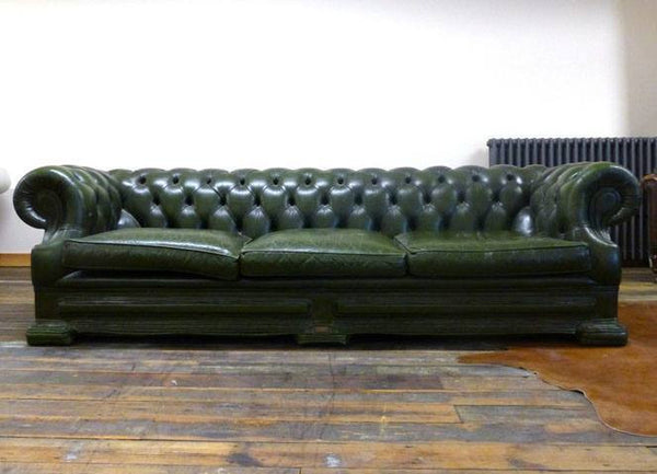 FOUR SEATER VINTAGE DELLBROOK GREEN LEATHER CHESTERFIELD