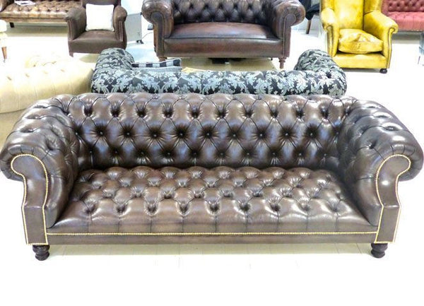 Pair of Devonshire Chesterfield Sofas – Walnut Leather