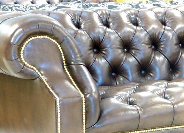 Pair of Devonshire Sofas – Walnut Leather