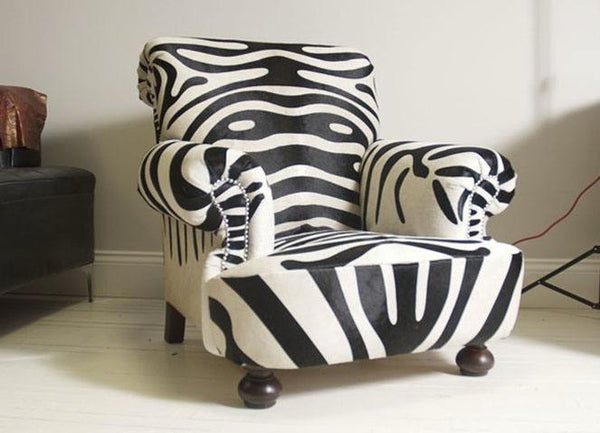 The Shelburne Armchair – Zebra Print Leather