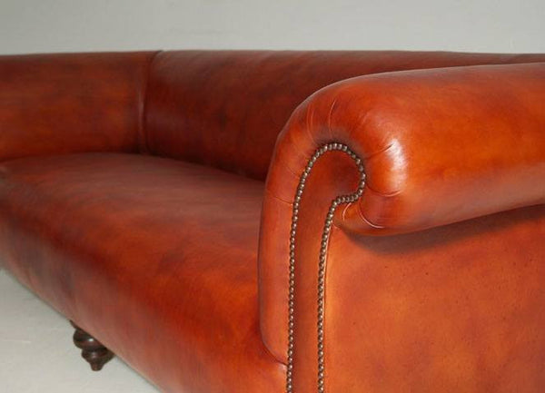 The Goderich Un-Buttoned Chesterfield Sofa – Whiskey leather