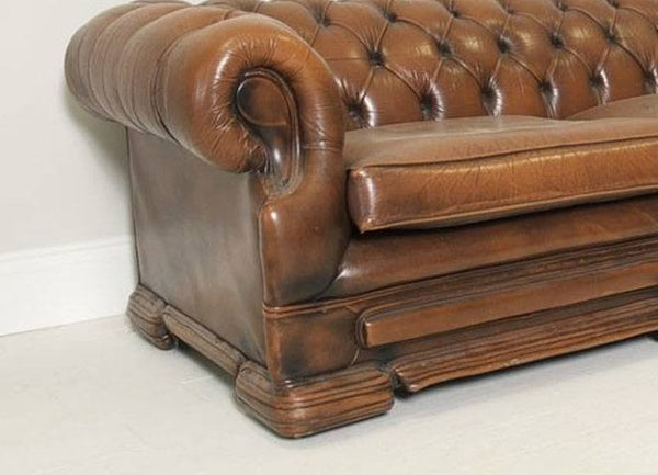 PRE-LOVED CARAMEL LEATHER SOFA