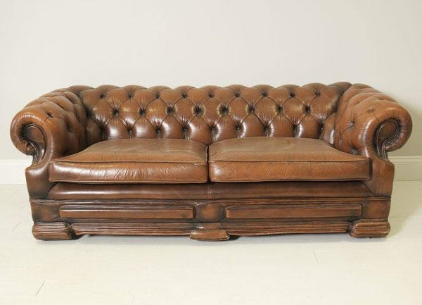 PRE-LOVED LEATHER CARAMEL CHESTERFIELD SOFA